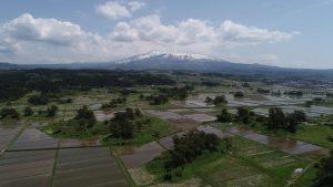 鳥海山と九十九島(空撮)